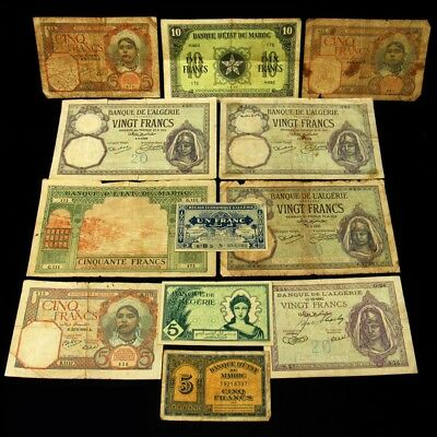 12x French Africa Colony Algeria/Morocco Notes - Avg Circ or Better