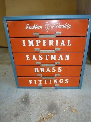 LARGE LOT Of BRASS Pipe FITTINGS w/ Imperial Eastman Case