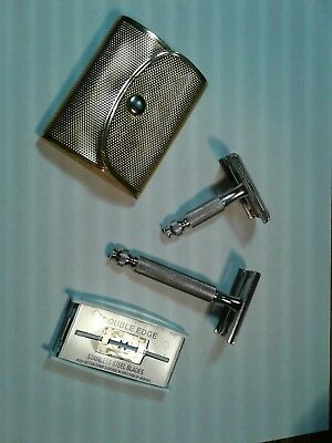 2 Vintage Gillette Tech Travel Safety Razors In Good Used Condition W/ 4 Blades