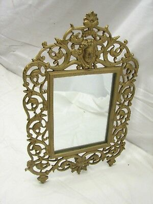Early Cast National Brass & Iron Art Nouveau Ornate Stand Up Picture Frame Photo