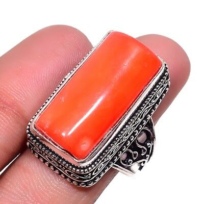 Italian Coral 925 Sterling Silver Plated Antique Design Ring Size-8.5 RR-38459