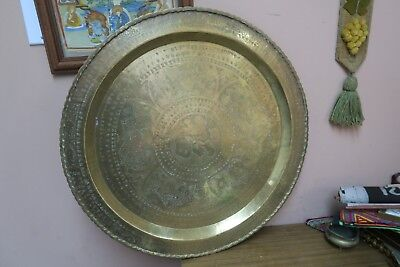 Vintage Chinese Symbols Asian Etched Brass Table Tray 25""