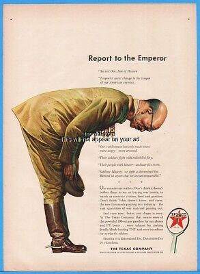 1943 The Texas Company Texaco Report To Emperor WWII Bowing Japanese Officer Ad