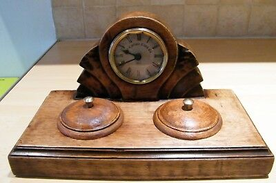 Vintage Art Deco Style Desk/Boudoir Wood Cased Clock with 2 Lidded Receptacles