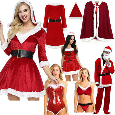 Women Mens Santa Claus Christmas Costume Cosplay Velvet Xmas Dress Outfits Coat
