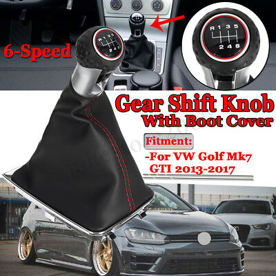 For VW Golf Mk7 2013 - 2017 GTI Manual 6 Speed Ball Red Gear Shift Knob & Boot
