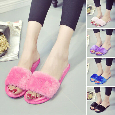Women Winter Warm Flats Shoe Fur Slip On Comfy Slider Slippers Sandals Open Toe