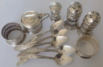 Sterling silver job lot condiments, etc