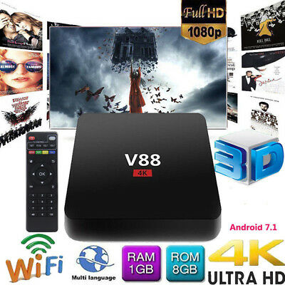 Hot V88 4K Android 8.1 Smart TV BOX RK3229 Quad Core HD WiFi Media Player CHW