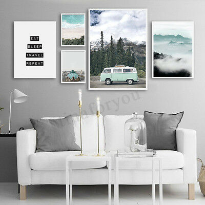 Scandinavian Beach Travel Landscape Poster Nordic Wall Art Canvas Prints Unframe