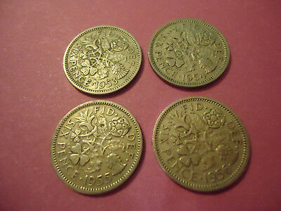 Lot Of 4 Six Pence English Coins   **1953-1956**  > Combined Shipping <