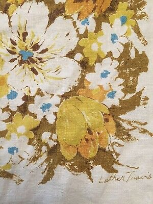 """VTG LUTHER TRAVIS 48x65"""" Rectangle Tablecloth Signed Linen  Gold Blue Brown"""