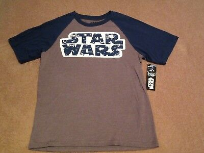Boy's Youth Star Wars Gray w/Blue Short Sleeve Graphic Patch T- Shirt Size 2X/18