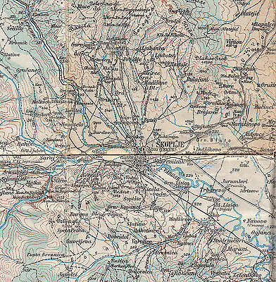 1917 Original Military Topographic Detailed Map Macedonia Skoplje Serbia German