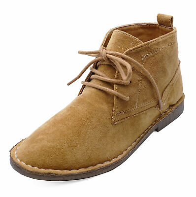 Boys Kids Tan Desert Dealer Lace-Up Smart Casual Ankle Boots Shoes Sizes 6-13