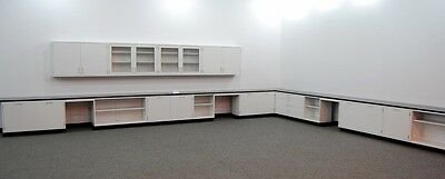 41' White Lab Cabinets & Casework W/ 16' Wall Units + Tops Stock#l016-