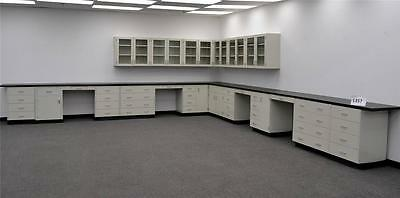 43' Base  & 18' Glass Door Wall White Laboratory Cabinets + Black Counter Tops