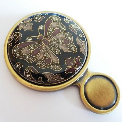 Spain Swarovski Beautiful Unique Vintage Antique Bronze Butterfly Hand Mirror