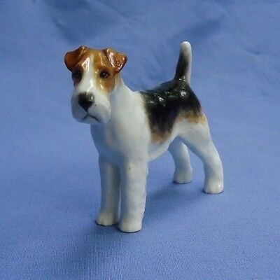 WIRE HAIRED FOX TERRIER Royal Worcester puce dog