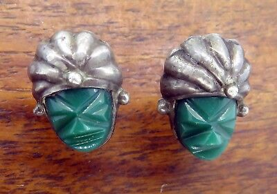 Vintage silver MEXICO TAXCO ANTIQUE CARVED GREEN ONYX FACE SCREW BACK earrings