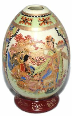 Antique Moriage Chinese Japanese Asian Pottery Egg Peaches Deer Child Flowers US