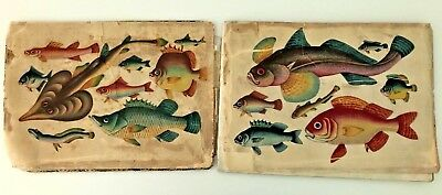 19th Century Asian Chinese Album  Pith Paintings Rice Paper Fish And Figures