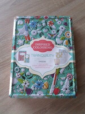 Tranquility Inspired Adult Colouring Tin With Colouring Books & Pencils - New