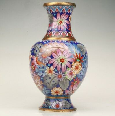 12.5 Inch Precious Chinese Antique Cloisonne Hand-Painted Flower Statue Vase