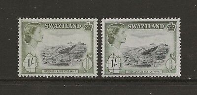 Swaziland 1956 1/- in 2 distinct shades MM & UM see comments