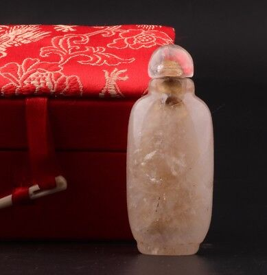 Precious China Crystal Snuff Bottle Statue Old Gift Collection Box