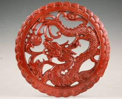 Unique Wood Handmade Carving Dragon Statue Wall Decorative Plate Christmas Gift