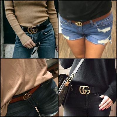 Genuine Leather Belts Wide 2.8cm Jeans Women's Belt with Letter Buckle Gift