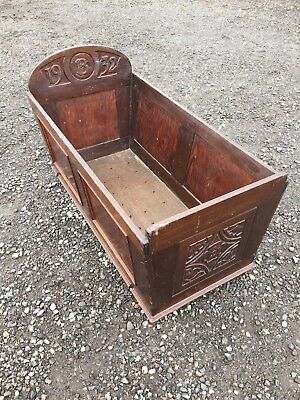 1932 Vintage Antique Old Art Deco Wood Baby Cradle Ideal Doll Or Logs! 5/11/A