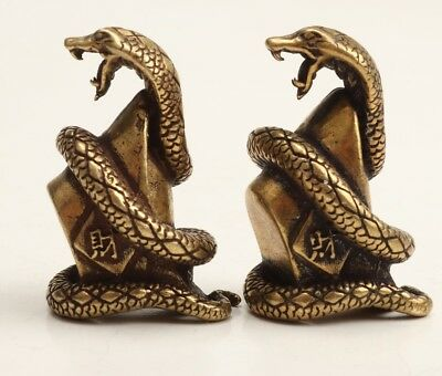 2 Chinese Old Bronze Hand-Carved Snake Animal Statue Amass Fortunes Collection