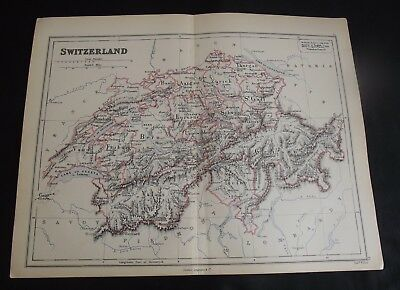 Antique Map: Switzerland by Edward Weller, 1888, Colour