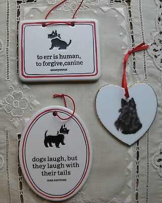 3 Porcelain Scottie Dog Signs with Sayings