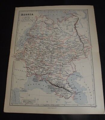 Antique Map: Russia by Edward Weller, 1888, Colour
