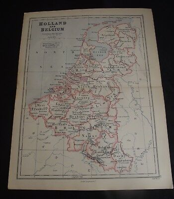 Antique Map: Holland & Belgium by Edward Weller, 1888, Colour