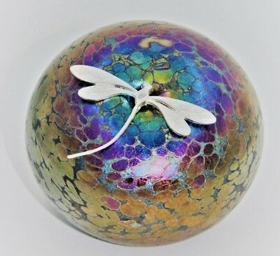 Neo Art Glass speckle art glass pebble sterling silver dragonfly signed K.Heaton