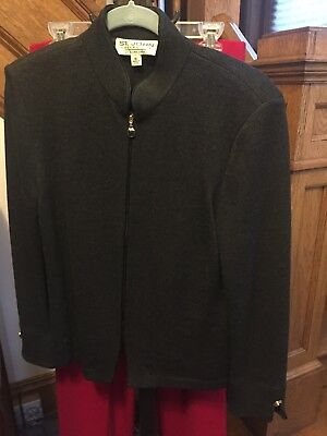 St John Collection by Marie Gray Black Knit Jacket Size 10 Zip Up