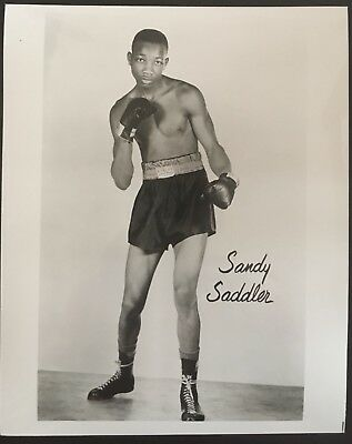 Great Photograph Of The Legendary Featherweight Champion Sandy Saddler In Pose!!