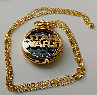 Star Wars Gold Fob Watch Necklace Sci Fi Films Series Movies TV Books Jedi World