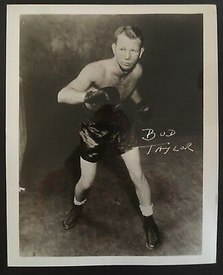 Superb Photograph Of The Great Bantamweight Champion Bud Taylor In Pose!!