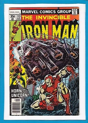 """Invincible Iron Man #113_August 1978_Very Fine_""""horn Of The Unicorn""""_Bronze Age!"""