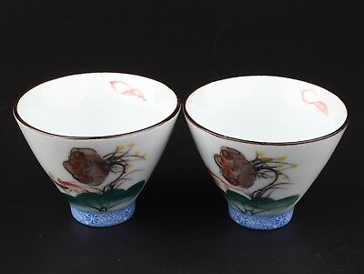 2 Republican Period Porcelain Tea Bowl Decorative Painting Lotus Collection