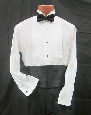 New Black Satin Tuxedo Bow Tie and Cummerbund Set Waiter Catering Work Wear