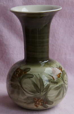 """Jersey Pottery Channel Islands Green 5.75"""" Vase Floral Brown Flowers"""