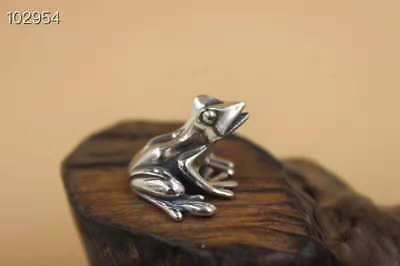 925 Silver Hand-Made Frog Statue Frog Incense Inserted Christmas Gift