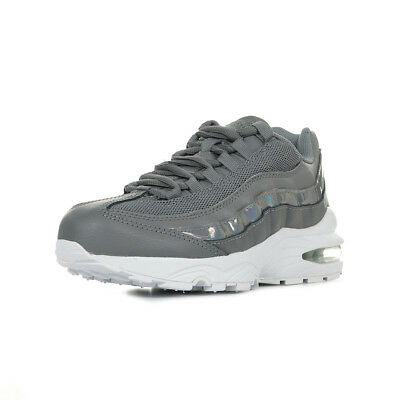 the latest 07442 9a9cc Chaussures Baskets Nike femme Air Max  95 LE GS taille Gris Grise Cuir  Lacets