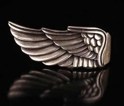 925 Silver Angel Wings Ring Feather Statue Old Collection Christmas Gift